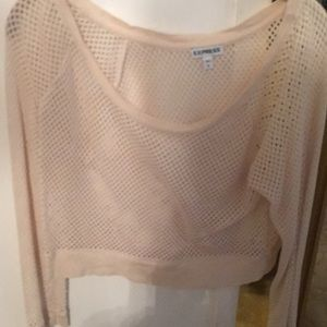 Netted sheer crop blouse